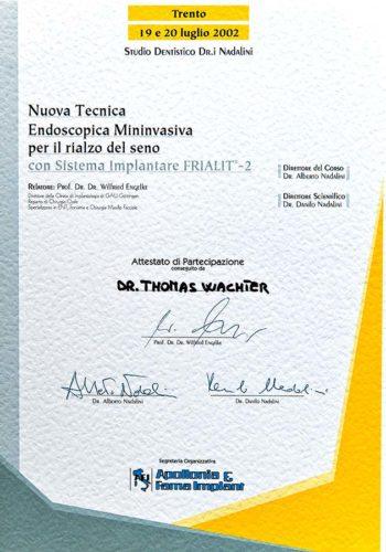 2002-Zertifikat-Implantologie-Certificato-Impiantologia-Trento-Dr-Thomas-Waechter-Zahnarzt-Odontoiatra-Bozen-Bolzano