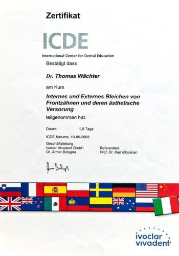 2003 Zertifikat Aesthetische Zahnheilkunde Certificato Odontoiatria Estetica Naturns Dr Thomas Waechter Zahnarzt Odontoiatra Bozen Bolzano