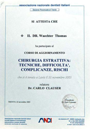 2003-Zertifikat-Chirurgie-Certificato-Chirurgia-Lavis-Trento-Dr-Thomas-Waechter-Zahnarzt-Odontoiatra-Bozen-Bolzano