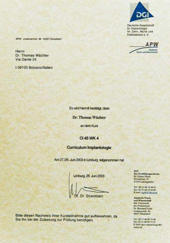 2003-Zertifikat-Curriculum-Implantologie-Certificato-Formazione-Impiantologia-Limburg-Dr-Thomas-Waechter-Zahnarzt-Odontoiatra-Bozen-Bolzano