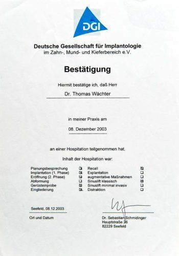 2003 Zertifikat Curriculum Implantologie Certificato Formazione Impiantologia Seefeld Dr Thomas Waechter Zahnarzt Odontoiatra Bozen Bolzano