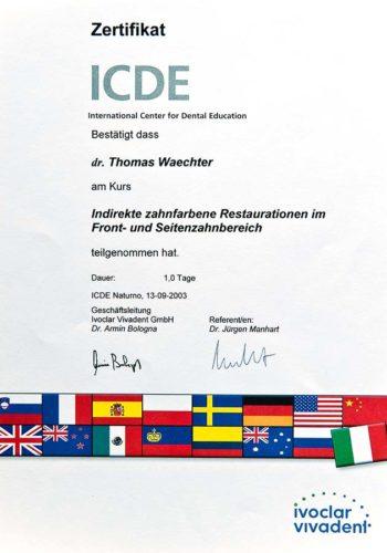 2003 Zertifikat Prothetische Zahnheilkunde Certificato Odontoiatria Protesica Naturns Bozen Dr Thomas Waechter Zahnarzt Odonoiatra Bozen Bolzano