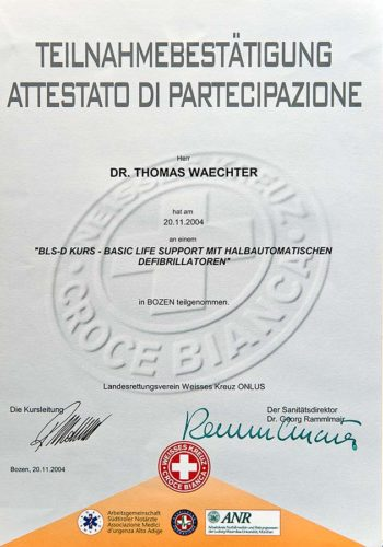 2004-Zertifikat-Allgemeine-Zahnheilkunde-Basic-Life-Support-Certificato-Odontoiatria-Generale-Dr-Thomas-Waechter-Zahnarzt-Odontoiatra-Bozen-Bolzano