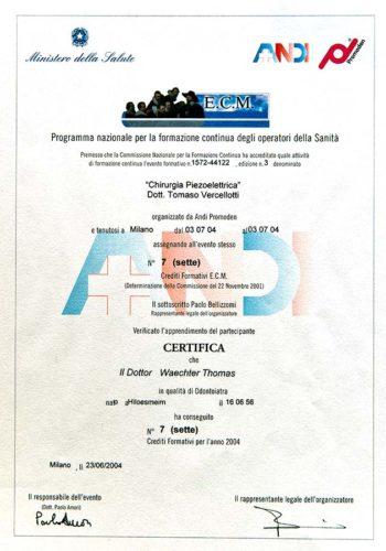 2004-Zertifikat-Chirurgie-Certificato-Chirurgia-Milano-Dr-Thomas-Waechter-Zahnarzt-Odontoiatra-Bozen-Bolzano