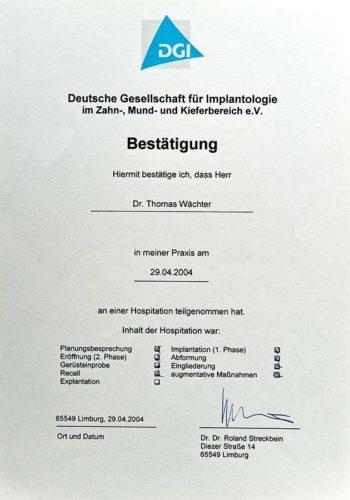 2004 Zertifikat Curriculum Implantologie Certificato Formazione Impiantologia Limburg Dr Thomas Waechter Zahnarzt Odontoiatra Bozen Bolzano