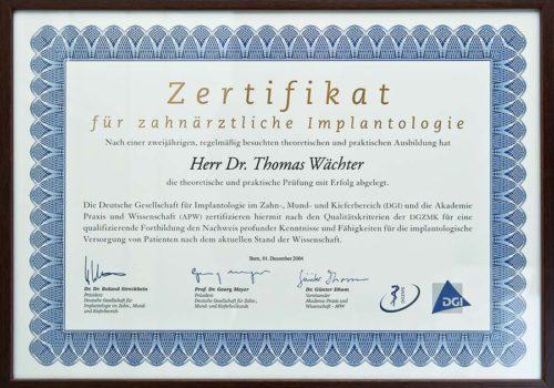 2004 Zertifikat Implantologie Certificato Impiantologia Bern Dr Thomas Waechter Zahnarzt Odontoiatra Bozen Bolzano