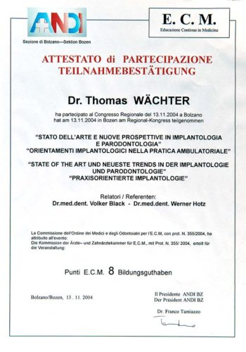 2004-Zertifikat-Implantologie-Certificato-Impiantologia-Bozen-Bolzano-Dr-Thomas-Waechter-Zahnarzt-Odontoiatra-Bozen-Bolzano
