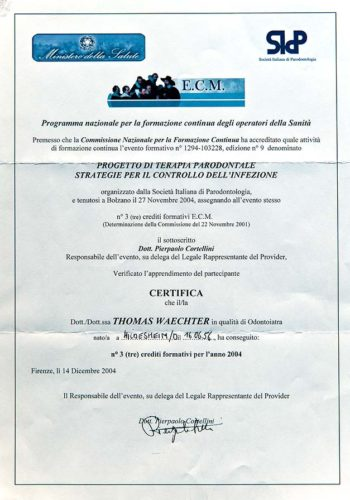 2004 Zertifikat Parodontologie Certificato Parodontologia Firenze Dr Thomas Waechter Zahnarzt Odontoiatra Bozen Bolzano