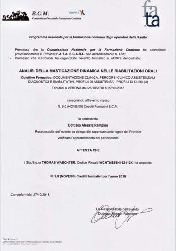 2018-Zertifikat-Funktionelle-Zahnheilkunde-Certificato-Odontoiatria-Funzionale-Verona-Dr-Thomas-Waechter-Zahnarzt-Odontoiatra-Bozen-Bolzano