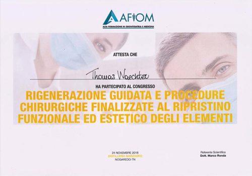 2018-Zertifikat-Regenerative-Zahnheilkunde-Certificato-Odontoiatria-Rigenerativa-Trento-Dr-Thomas-Waechter-Zahnarzt-Odontoiatra-Bozen-Bolzano