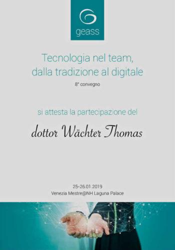 2019 Zertifikat Digitale Zahnheilkunde Certificato Odontoiatria Digitale Mestre Dr Thomas Waechter Zahnarzt Bozen Bolzano