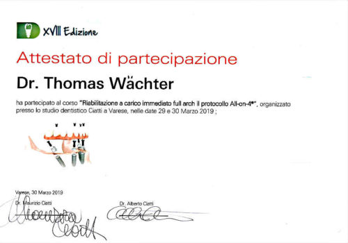 2019-Zertifikat-Implantologie-Certifcato-Impiantologia-Varese-Dr-Thomas-Waechter-Zahnarzrt-Odontoiatra-Bozen-Bolzano