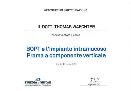 2019-Zertifikat-Implantologie-Certificato-Impiantologia-Trento-Dr-Thomas-Waechter-Zahnarzt-Odontoiatra-Bozen-Bolzano
