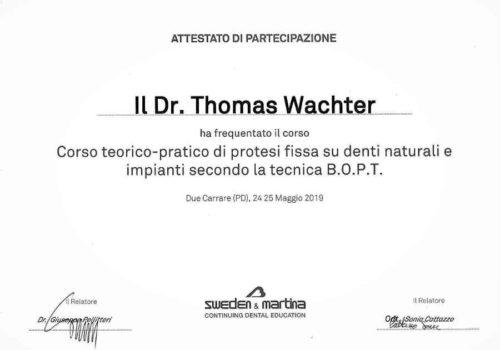 2019 Zertifikat Prothetische Zahnheilkunde Certificato Odontoiatria Protesica Padova Dr Thomas Waechter Zahnarzt Odontoiatra Bozen Bolzano
