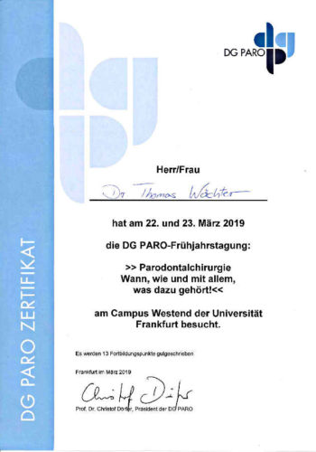 2019 Fortbildung Parodontologie Certificato Parodontologia Frankfurt Dr Thomas Waechter Zahnarzt Odontoiatra Bozen Bolzano