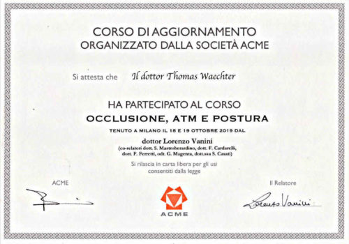 2019 Zertifikat- Funktionelle-Zahnheilkunde-Certificato-Odontoiatria-Funzionale-Mailand-Milano-Dr-Thomas-Waechter-Zahnarzt-Odontoiatra- Bozen-Bolzano