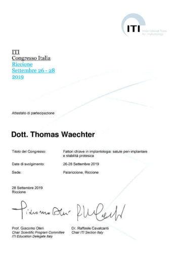 2019 Zertifikaz Implantologie Certificato Impiantologia Riccione Dr Thomas Waechter Zahnarzt Odontoiatra Bozen Bolzano 1 1