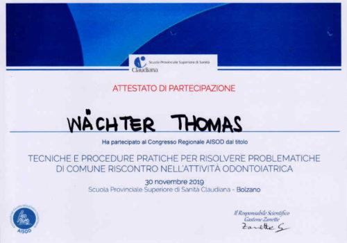 2019 Zertifikat Allgemeine Zahnheilkunde Certificato Odontoiatria Generale Bozen Bolzano 2013 11 Dr Thomas Waechter Zahnarzt Odontoiatra Bozen Bolzano