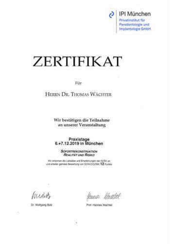 2019-Zertifikat-Implantologie-Certificato-Impiantologia-Muenchen 2019-12-Dr-Thomas-Waechter-Zahnarzt-Odontoiatra-Bozen-Bolzano