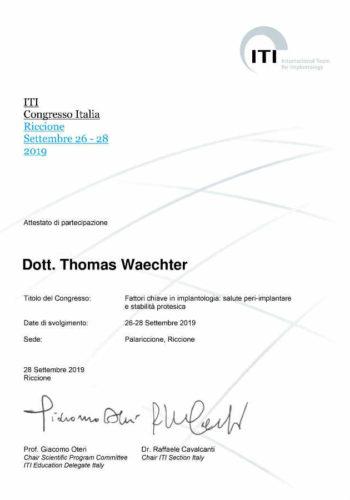 2019 Zertifikat Implantologie Certificato Impiantologia Riccione 2019 09 Dr Thomas Waechter Zahnarzt Odontoiatra Bozen Bolzano 1 1