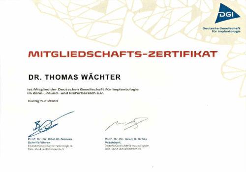 2020 Zertifikat Implantologie Certificato Impiantologia 2020 01 Deutschlnad Germania Dr Thomas Waechter Zahnarzt Odontoiatra Bozen Bolzano