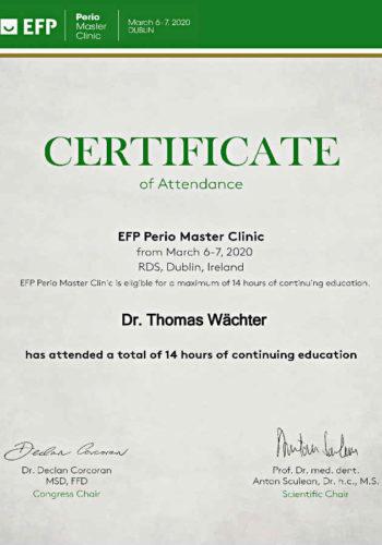 2020 Zertifikat Parodontologie Certificato Parodontologia 2020 03 Dublin Dr Thomas Waechter Zahnarzt Odontoiatra Bozen Bolzano 1