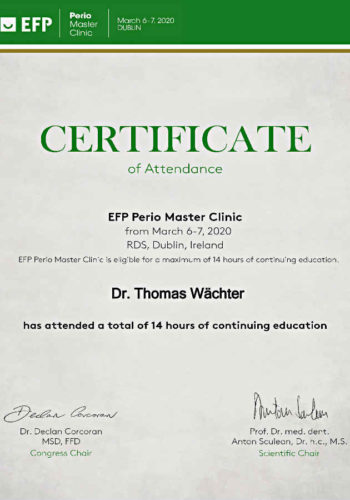 2020 Zertifikat Parodontologie Certificato Parodontologia 2020 03 Dublin Dr Thomas Waechter Zahnarzt Odontoiatra Bozen Bolzano