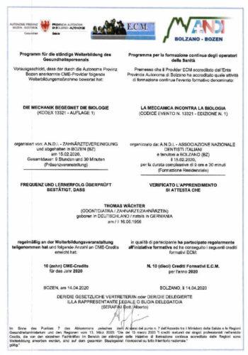 2020-Zertifikat-Allgemeine-Zahnheilkunde-Certificato-Odontoiatria-Generale-2020-02-Bozen-Bolzano-Dr-Thomas-Waechter-Zahnarzt-Odontoiatra-Bozen-Bolzano