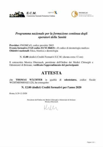 2020-Zerifikat-Allgemeinmedizin-Cerificato-Medicina-Generale-2020-12-Onlie-Kurs-Corso-Online-Dr-Thomas-Waechter-Zahnarzt-Odontoiatra-Bozen-Bolzano